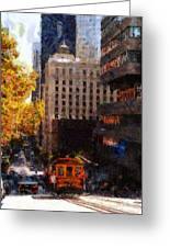 Cablecar On San Francisco California Street  . Painterly . 7d7176 Greeting Card by Wingsdomain Art and Photography