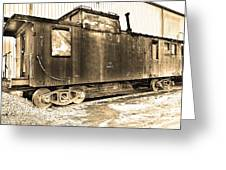 Caboose Black And White Greeting Card
