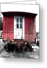 Caboose In Barn Red  Greeting Card