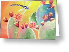 Cactus And Firefly Greeting Card
