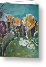 Cactus Blossoms In Desert Greeting Card