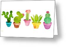 Cactus Plants In Pretty Pots Greeting Card