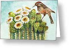 Cactus Wren And Saguaro Greeting Card