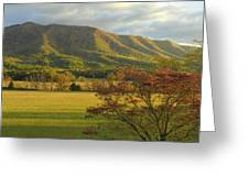 Cades Cove Autumn Sunset In Great Smoky Mountains Greeting Card