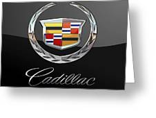 Cadillac - 3 D Badge On Black Greeting Card