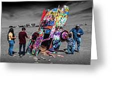 Cadillac Ranch Spray Paint Fun Along Historic Route 66 By Amarillo Texas Greeting Card