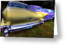 Cadillacs All In A Row Greeting Card