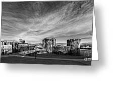 Caerphilly Castle Panorama Mono Greeting Card