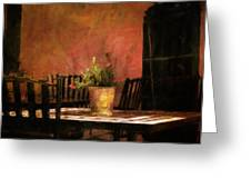 Cafe A La Sombra Greeting Card