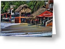 Cafe Beach Bucerias Mexico Greeting Card