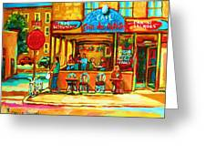 Cafe Coin Des Artistes Greeting Card