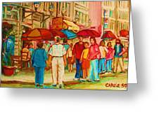 Cafe Crowds Greeting Card