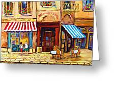 Cafe De Vieux Montreal With Couple Greeting Card by Carole Spandau