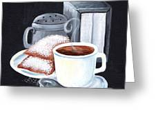 Cafe Du Monde On Black Greeting Card