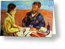 Cafe  Homage  De Pierre Auguste Greeting Card