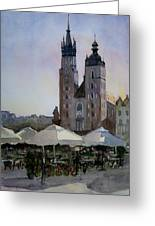Cafe In Main Square Krakow Greeting Card