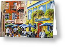 Cafe In The Old Quebec Greeting Card