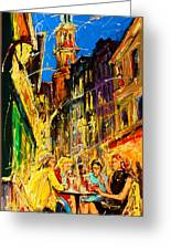 Cafe Of Amsterdam At Night  Greeting Card