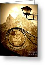Cafe Sign In Bavarian Alps Greeting Card
