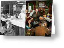 Cafe - Temptations 1915 - Side By Side Greeting Card