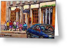 Outdoor Cafe Painting Vieux Montreal City Scenes Best Original Old Montreal Quebec Art Greeting Card