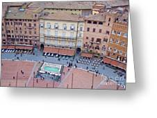 Cafes Of Il Campo In Siena Italy Greeting Card