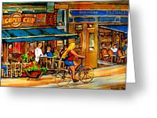 Cafes With Blue Awnings Greeting Card