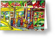 Caffe Italia And Milano Charcuterie Montreal Watercolor Streetscenes Little Italy Paintings Cspandau Greeting Card