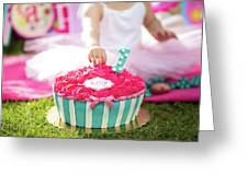 Cake Smash Pink Cake With Blue And White Stripes Greeting Card