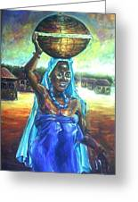 Calabash Lady In Blue Greeting Card