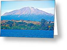 Calbuco Volcano Over Llanquihue Lake From Puerto Varas-chile Greeting Card