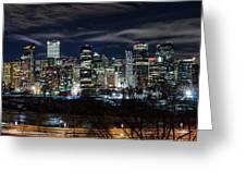 Calgary Skyline At Night Greeting Card