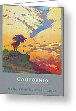 California - America's Vacation Land And New York Central Lines - Retro Travel Poster - Vintage Greeting Card