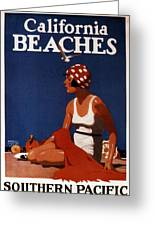 California Beaches - Girl On A Beach - Retro Poster - Vintage Advertising Poster Greeting Card