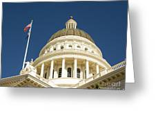 California Capitol Cupola And Flag Greeting Card