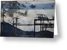 California Cascade Power Lines Greeting Card