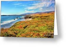 California Coast Wildflowers On Cliffs Ap Greeting Card