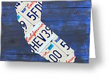 California License Plate Map On Blue Greeting Card by Design Turnpike