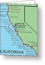 California Lighthouse Map Greeting Card by Christine Till