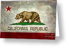 California Republic State Flag Retro Style Greeting Card