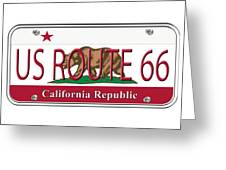 California Route 66 License Plate Greeting Card