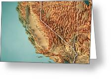 California State Usa 3d Render Topographic Map Border Digital Art By