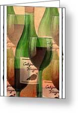 California Vineyard Wine Bottle And Glass Greeting Card
