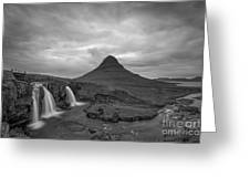 Calm Before The Storm At Kirkjufell Bw Greeting Card