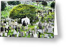 Calvary Cemetery From Above Greeting Card