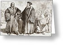 Calvin And Servetus Before The Council Of Geneva Greeting Card