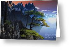 Calypso Mountains Oil On Canvas Greeting Card