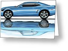Camaro 2010 Reflects Old Blue Greeting Card