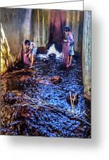 Cambodian Boys Netting Fish Greeting Card