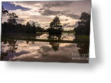 Cambodian Countryside Rice Fields Reflection Greeting Card